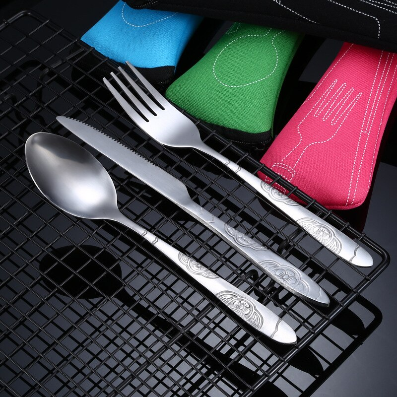 3pcs/7pcs Set Dinnerware Portable Printed Stainless Steel Spoon Fork Steak Knife Set Travel Cutlery Tableware with Bag