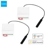 Aqara     Module de controle de relais  Zigbee  controle bidirectionnel  sans fil  2 canaux  interrupteur de commande de lumiere intelligent pour Mi Home Homekit
