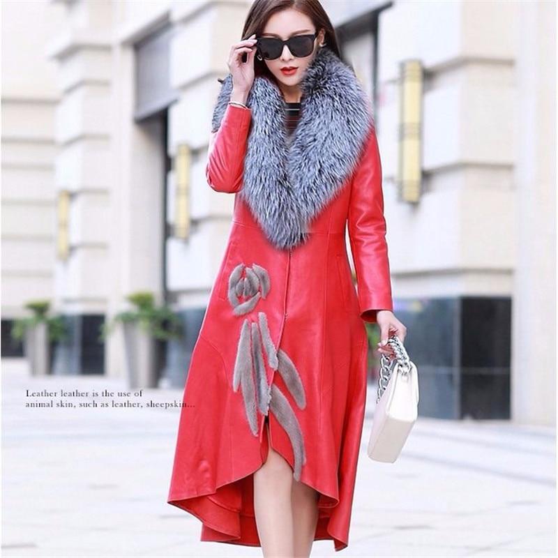 2021 New X-Long Parkas Women Fashion Trench Luxury PU Leather Fur Coats Women Elegant Winter Cotton Jackets Warm Coat Plus Sizes enlarge