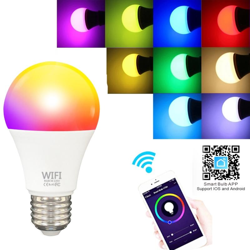WIFI inteligente bombilla Led 9W E27 B22 casa inteligente RGBCW WIFI lámpara de luz Color Compatible con Alexa Google Siri asistente