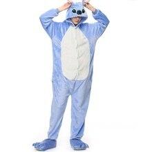 Kigurumi stitch long sleeve hood onsie pijama stitch Flannel warm stich onesies for adults Whole onepiece animal pajamas
