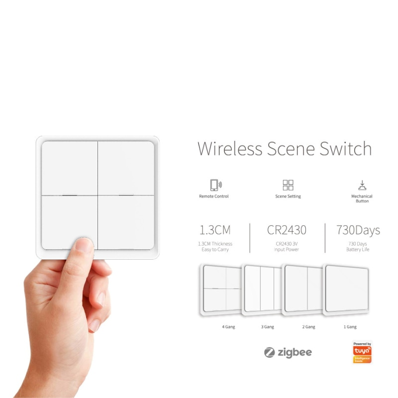 Novo tuya zigbee interruptor do painel de cena sem fio inteligente 4 gang botão parede casa inteligente com alexa google casa gateway