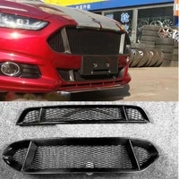 real carbon fiber frame front grille honeycomb for ford mondeo fusion 2013 2014 2015 2016 2017 2018