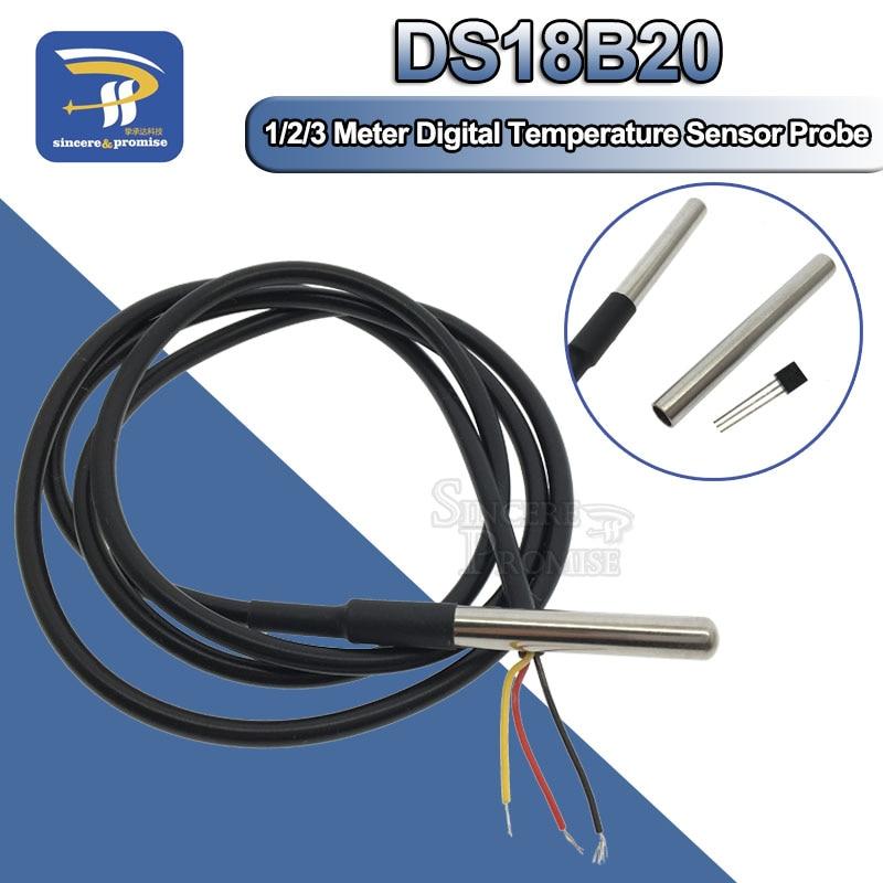 1M/2M/3M DS18B20 Stainless Steel Package Waterproof 1 Meter Temperature Probe Temperature Sensor 18b20 For Arduino Diy Kit