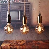 Retro Hemp Rope Pendant Lamp Light Fixtures Creative Aisle Household Lamp Holder Home Decor Suspension Type Kitchen Hanging Lamp