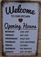 welcome to the opening hours retro metal tin sign plaque poster wall decor art shabby chic gift