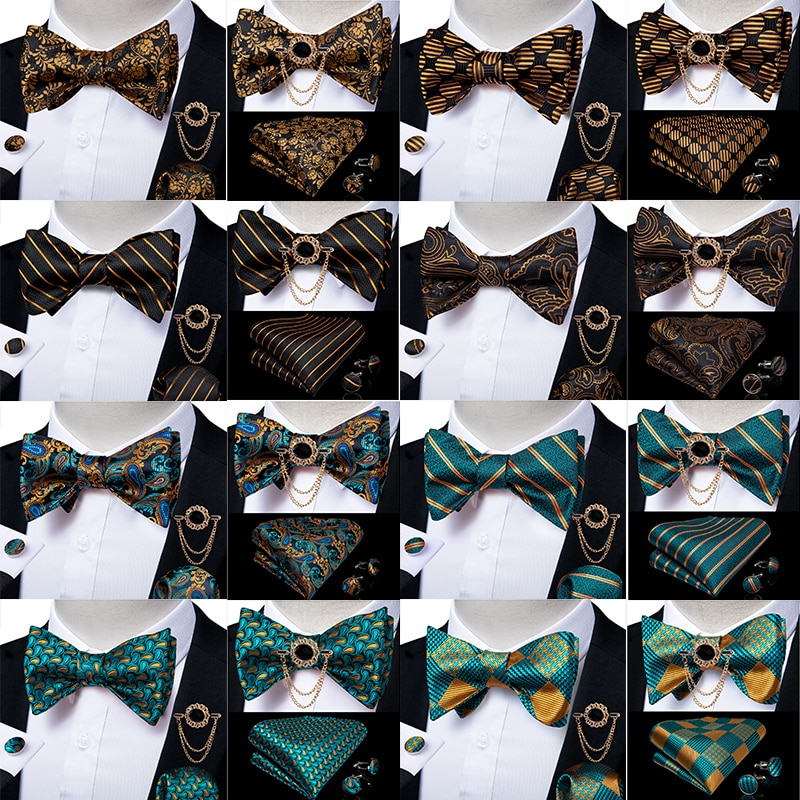 Men's Bow Tie Self Tie Bow Tie Brooch Handkerchief Cufflinks Set Wedding Party Bowknot Fashion Butterfly Dropshipping DiBanGu plus self tie bow top