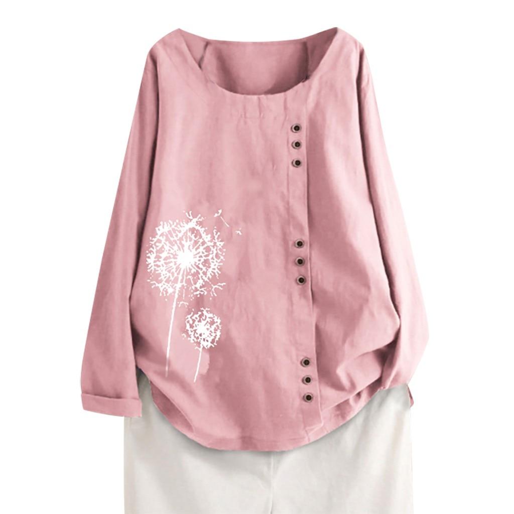 Women Large Size Linen Blouse Casual Plus Size Print  Long Sleeve Button Tunic shirt blusas mujer de moda 2020 New