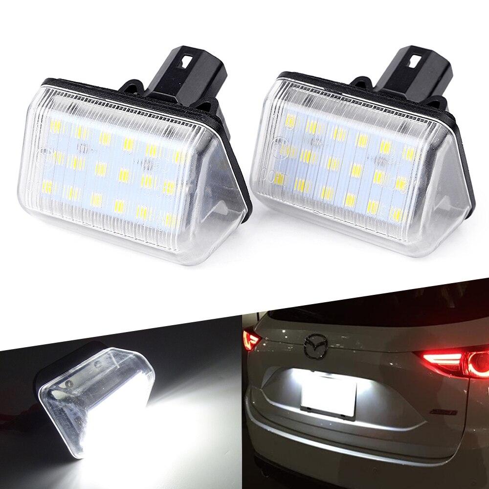 2pcs White No Error LED License Plate Lights For Mazda CX-5 CX-7 Mazda Speed 6 Mazda 6 Sedan GY GJ GH GG
