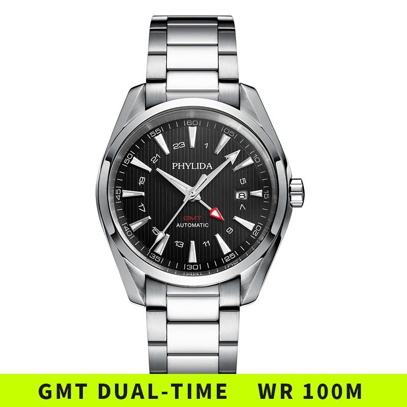 ساعة GMT أوتوماتيكية مقاومة للماء ، ساعة يد ميكانيكية فاخرة ، قرص أسود ، كريستال ياقوتي ، 10 بار ، 100 متر