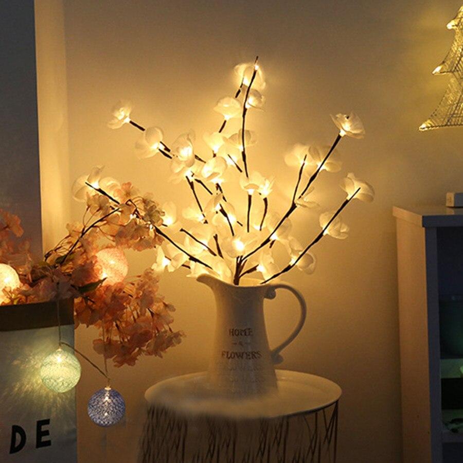 20leds 73cm iluminado flores ramo luz artificial phalaenopsis salgueiro ramo luz