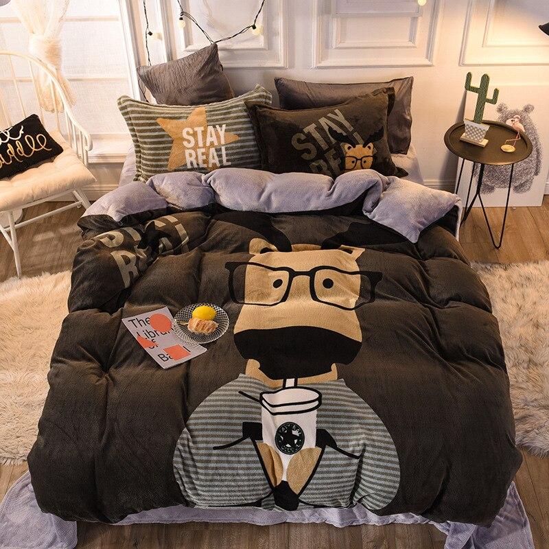 غطاء لحاف ريش طقم سرير 150 220x240بسيط فاخر شتاء دافئ سميكة الثلوج الصوف الصلبة الألوان رمادي ييلو50