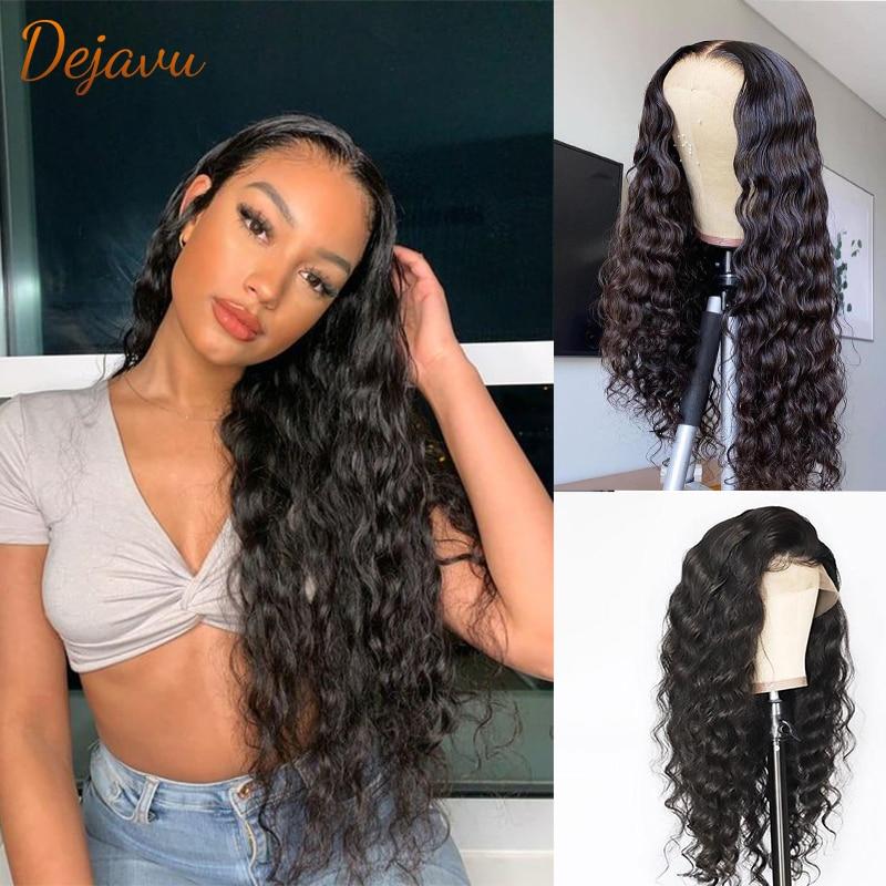 Pelucas de cabello humano Remy para mujeres, postizo de pelo virgen brasileño, Color natural, suelto y profundo, con encaje Frontal prearrancado