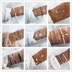 Lwmmd bohemia trançado pulseira conjunto onda pulseira boêmia pulseiras para mulher pulseira boho amizade pulseira