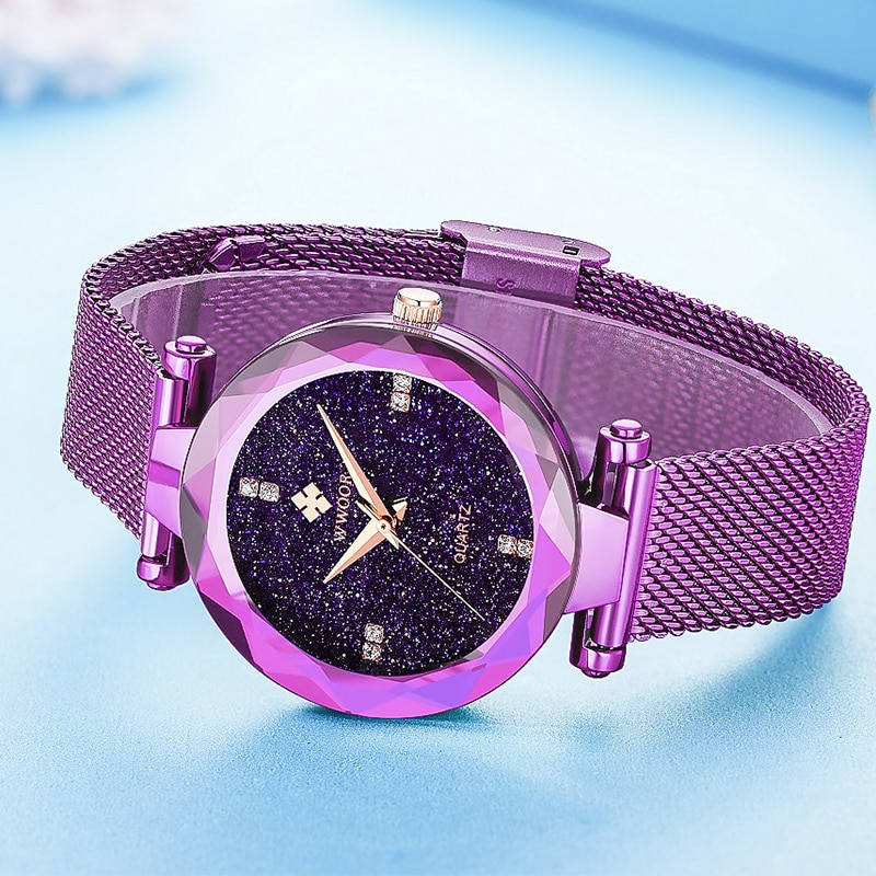 WWOOR Ladies Bracelet Watch Top Brand Luxury Diamond Starry Sky Clock Relogio Feminino Steel Mesh Strap Quartz Wrist Watch Girls enlarge