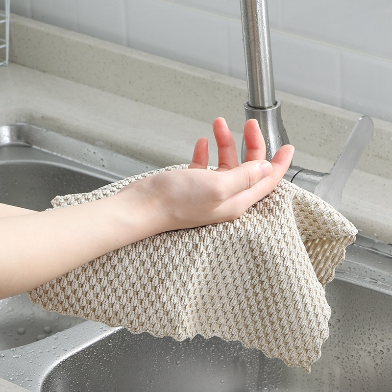 5pcs kitchen anti grease washing dish cloth wiping rags super absorbable window glass cleaning cloth microfiber cleaning towel Anti-grease Wiping Rags Kitchen Efficient Super Absorbent Microfiber Cleaning Cloth Home Washing Dish Kitchen Cleaning Towel