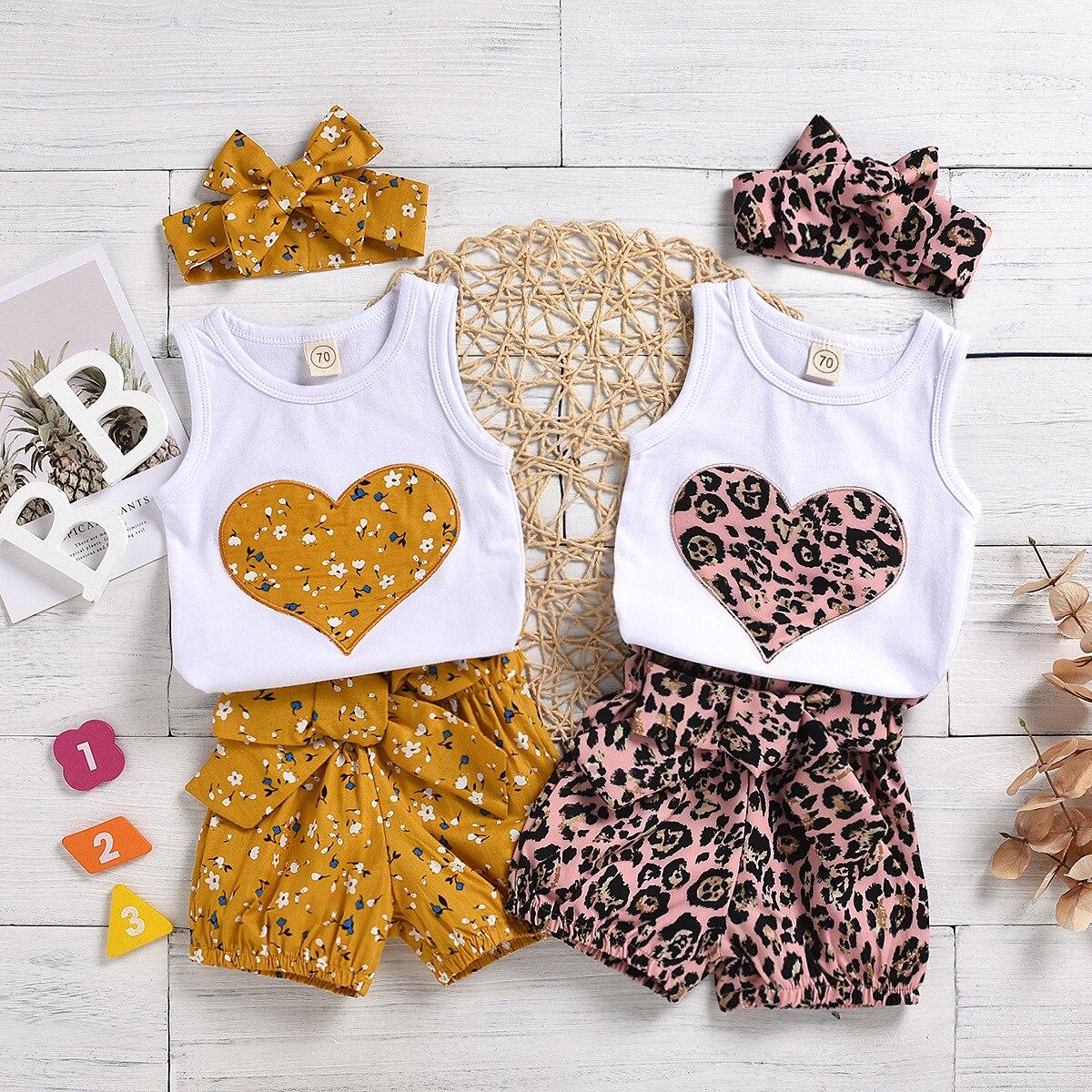 Одежда для новорожденных девочек Летняя Цветочная печать Персиковое сердце без рукавов стандартная повязка на голову 3 шт. наряды солнцеза...