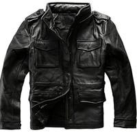 Black 2021New Men\'s Genuine Cowhide Jacket Casual Long Multi-Pocket Cowhide Coat Large Size 6XL