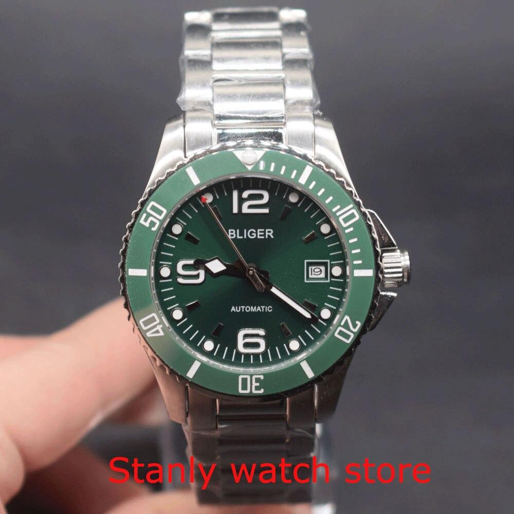 Zafiro lujo Bliger 40mm esfera verde marcas luminosas engaste de cerámica verde movimiento de cuerda automática reloj mecánico para hombres