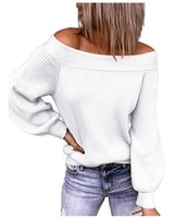 womens knitted pullovers sexy off shoulder loose t shirt 2021 autumn and winter solid color long sleeve sweaters tops female