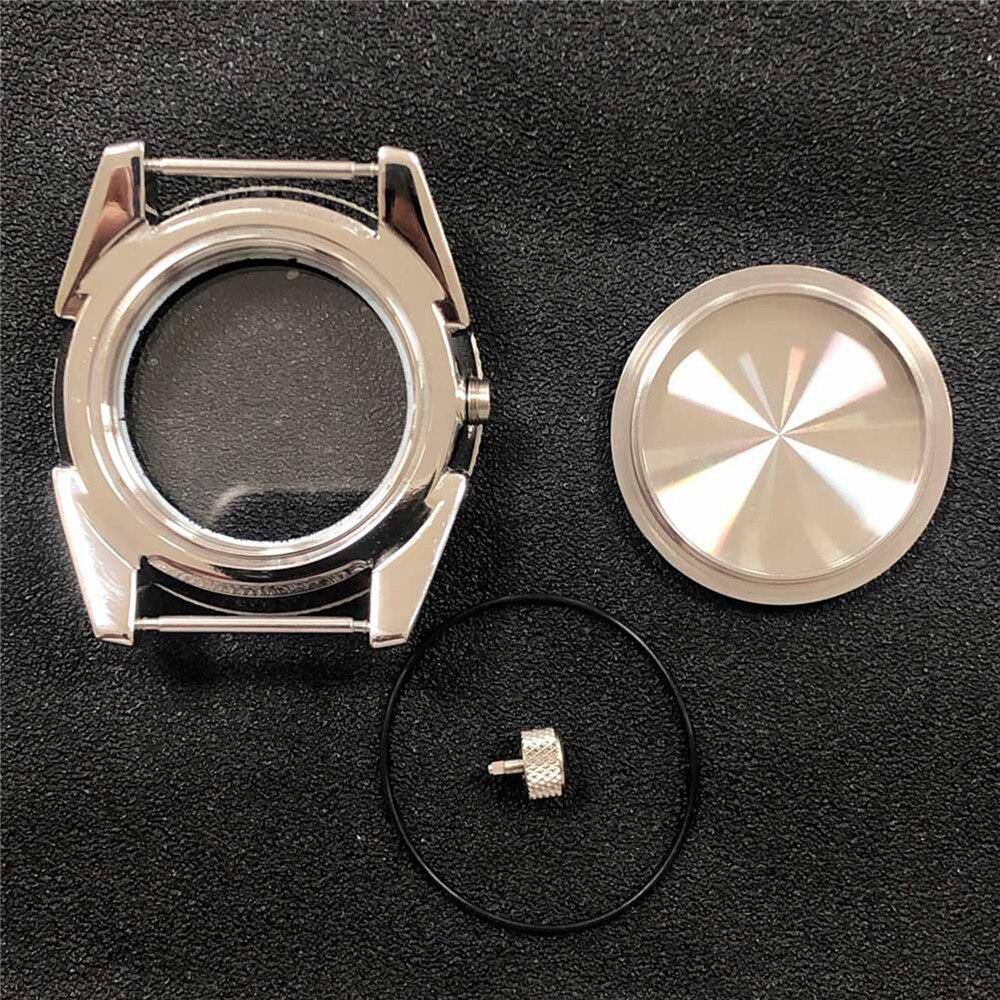 43 مللي متر مصقول إسكان الساعة من الفولاذ المقاوم للصدأ الألومنيوم الحافة الياقوت الزجاج ل NH35/NH36 الحركة التلقائية