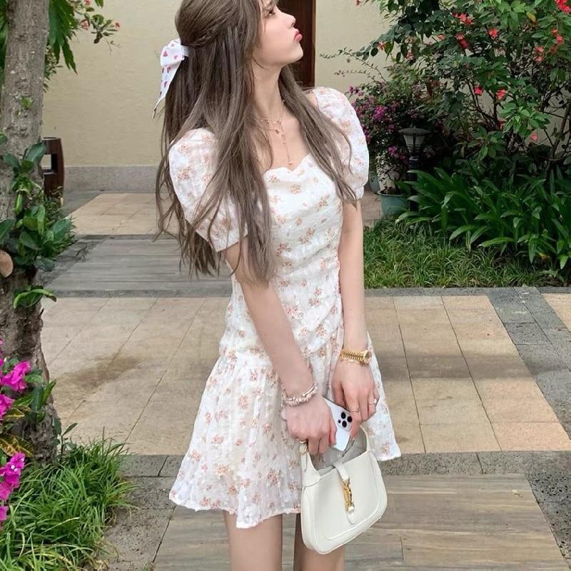 Korean Short Sleeve Vintage Floral Dress 2021 Summer Elegant Mini Dress Female Evening Party Chic Women Casual One Piece Dresses