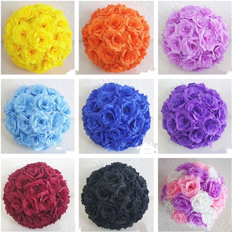 Upscale White Artificial Rose Silk Flower Ball Hanging Kissing Balls 30cm 12 Inch Dia Ball For Wedding Party Decoration Supplies