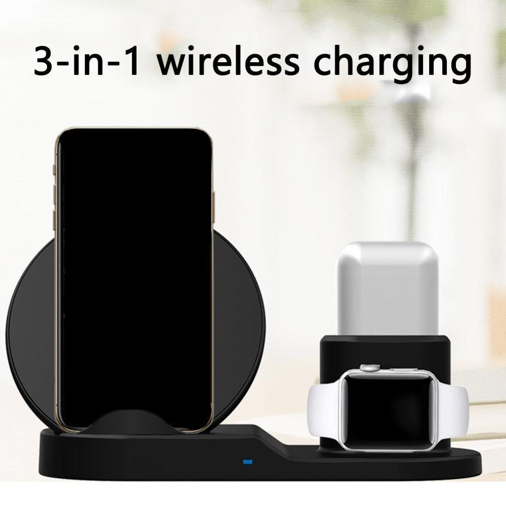 Cargador inalámbrico rápido 3 en 1 para iPhone 3 en 1 estación de carga inalámbrica Qi 10W para iPhone X XS Max XR 8 AirPods
