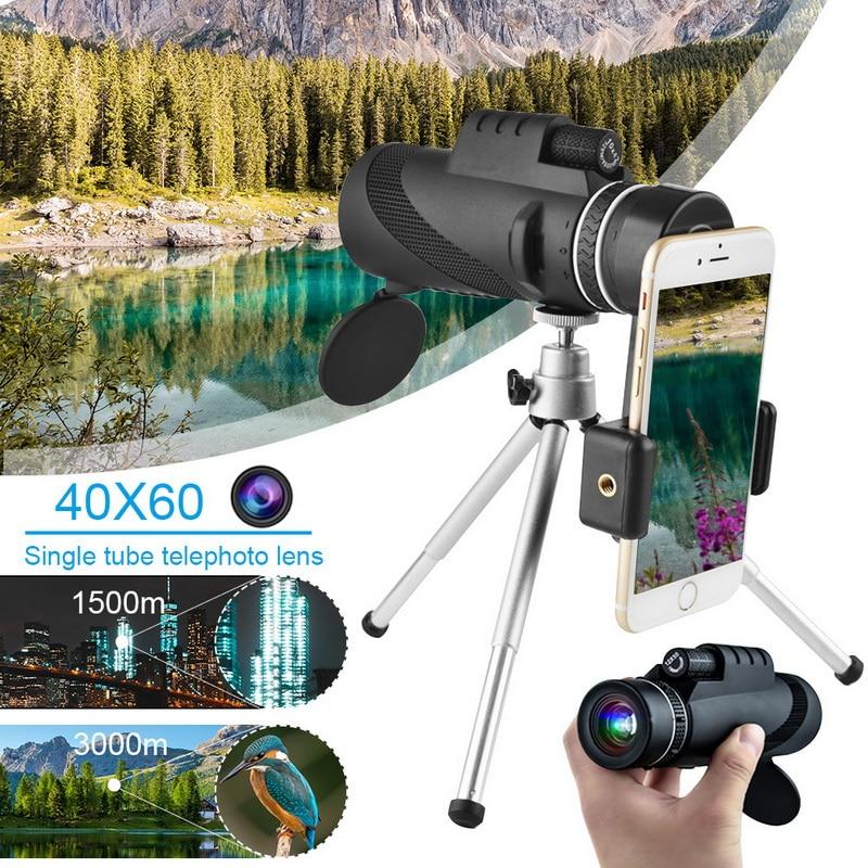 Para Smartphone 40X60 militar Spyglass Zoom alta calidad caza óptica alcance poderoso Monocular telescopio de largo alcance 1000m
