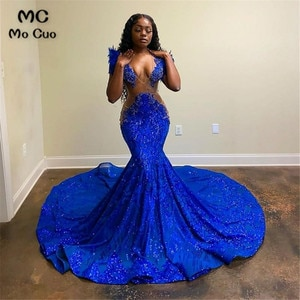 2021 African Mermaid Evening Dresses Long Beaded Prom Gown Sequined Lace Robe De Soiree Royer Blue Evening Party Prom Dress