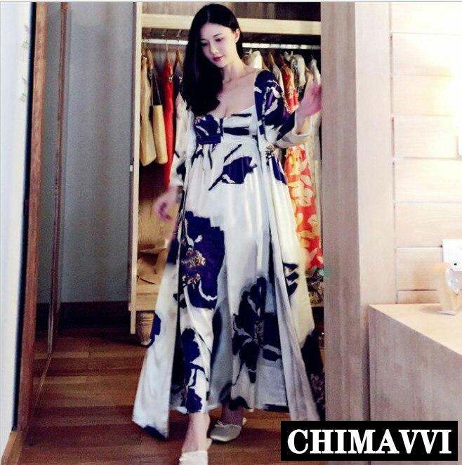 الأزياء الأزرق طباعة بيجامة من الحرير طويل ثوب النوم المرأة اثنين من قطعة ثوب النوم المنزل ارتداء البيجامة مجموعات نوم ليلة الجلباب