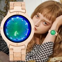 redfire stylish green dial rhinestone design led display ladies full maple digital watch touch screen wooden timepiece female