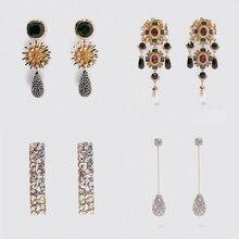 Miwens ZA Sparkly Crystal Long Drop Earrings For Women Elegant Flower Waterdrop Statement Earrings Maxi Jewelry Christmas Gifts