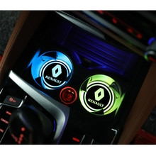 2 шт. цветная (RGB) Автомобильные брелки с логотипом светодиодный сна подстаканник коврик красочные светильник для Renault Megane 2 3 4 Koleos Espace Logan Clio Sandero, Scenic Twingo