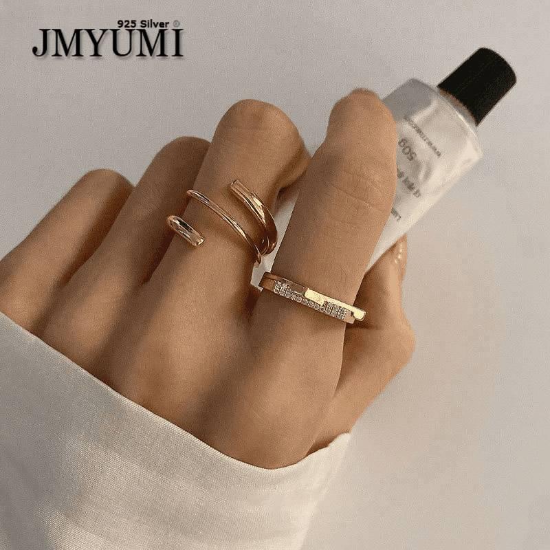 JMYUMI 925 пробы серебряные обручальные кольца для женщин INS Модные Позолоченные роскошные сверкающие циркониевые элегантные ювелирные издели...