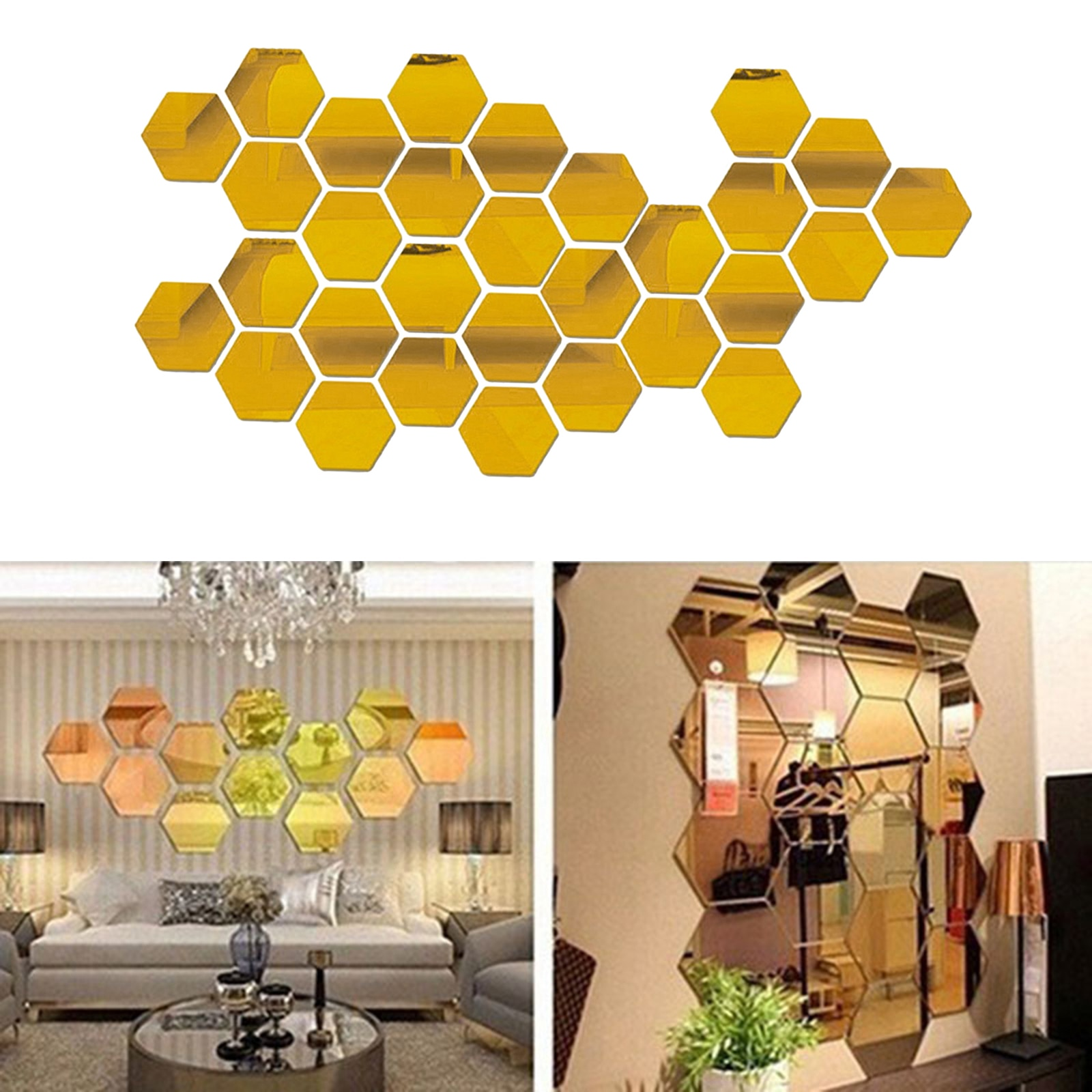 100 Self Adhesive Mirror Tiles Kitchen Wall Decals Stick On Stickers  - buy with discount