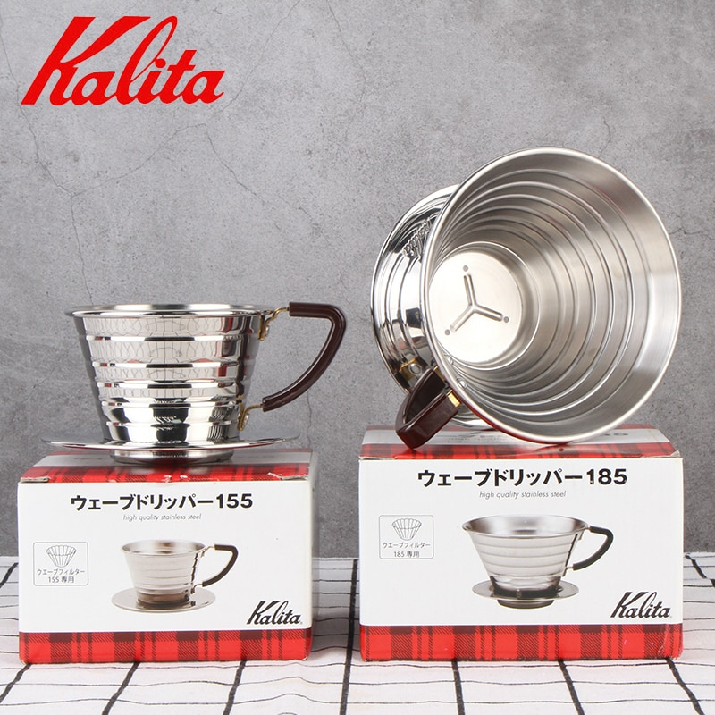 فلتر قهوة من الفولاذ المقاوم للصدأ, على الطراز الياباني المموج ، حامل فلاتر القهوة القابل لإعادة الاستخدام ، قطرات 155/185 ، سلال القهوة بالتنقي...
