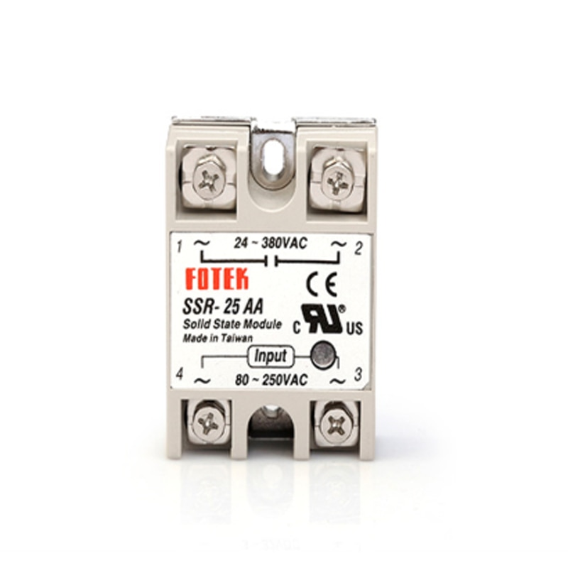 5pcs/lot SSR-25AA 25A Single-phase Solid State Relay Module 80-250VDC Input 24-380VAC output SSR25AA