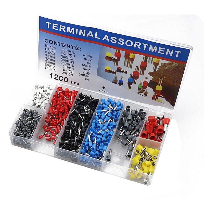 1200 Uds caja-embalado Tubular Terminal varios estilos Conector de cableado eléctrico crimpar aislamiento tubo terminales conjunto traje