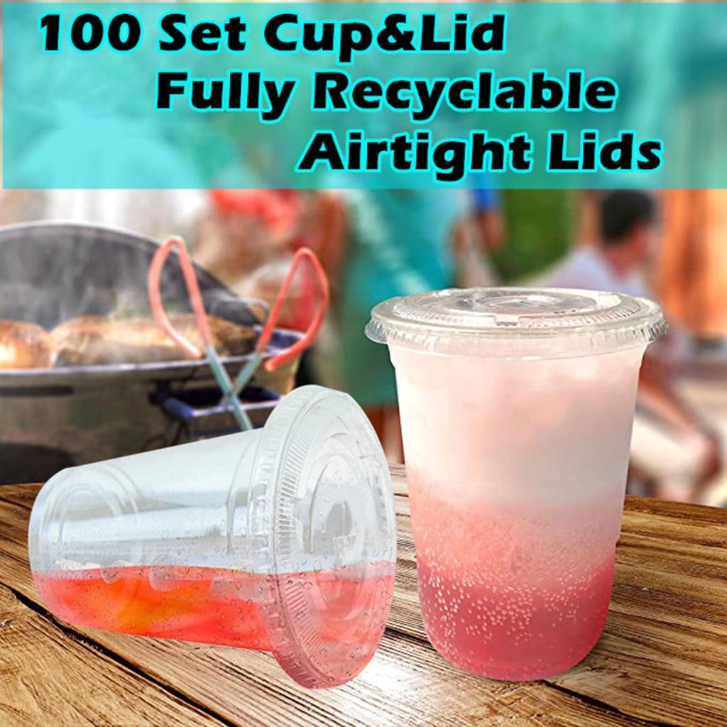 Juegos de tazas de plástico con tapas de domo para bebidas frías Iced, café, té, licuado, vasos desechables de plástico para yogur gelatinoso, 100 unidades