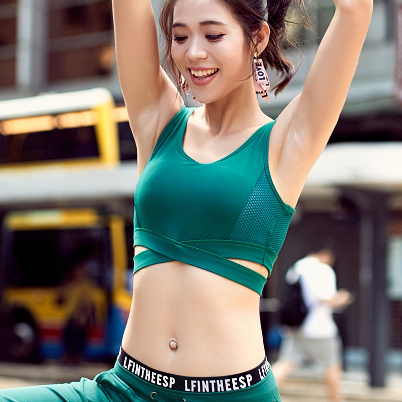 Shockproof Tank Tops Cross Bandage Solid Color Women Breathable Push Up Gather High Impact Support Yoga Compression Sports Bra