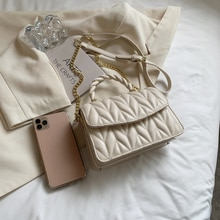 New Lady Shoulder Crossbody Bags Fashion Delicate Small Handbag for Women Outdoor Casual Metal Chain