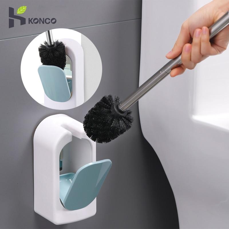 Konco toalete escova de banheiro fixado na parede punho longo conjunto doméstico semi-automático casa de limpeza escova de limpeza
