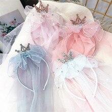 Diademas para niña y niño, bandanas de princesa, velo de hilo, corona, lazo, flor, accesorios para el cabello coreanos hechos a mano, venta al por mayor