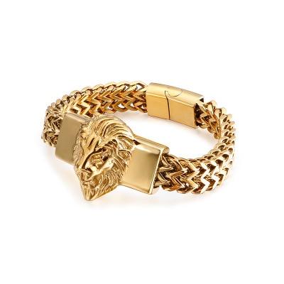 Top Sale Figaro Chain Mens Bracelet Stainless Steel Gold Color Lion Head Bracelet High Quality Mens Cuff Bracelet 8.66 inch