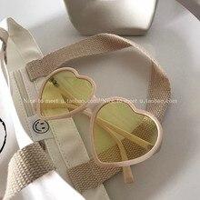 INS Retro Soft Girl Love Pink Girl Sunglasses Street Shot Large Frame Peach Heart Internet-Famous Gl