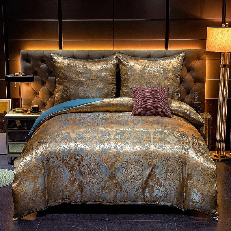 Kuup ساتان جاكار الرملي الفاخرة البوليستر لينة حاف الغطاء الأسرة حجم لنا الملك الملكة حجم طقم سرير ، أطقم سرير للكبار