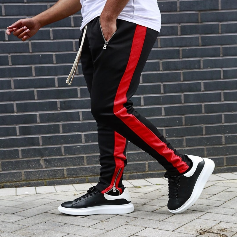 Men Running Gym Pants with Zipper Sports Fitness Jogging Tights Gym Bodybuilding Sweatpants Sport Tr