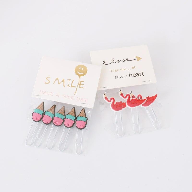 Бумажный зажим для мороженого Фламинго моделирование скрепка для бумаги Закладка планировщик украшение большая брошь скрепки для бумаги д...