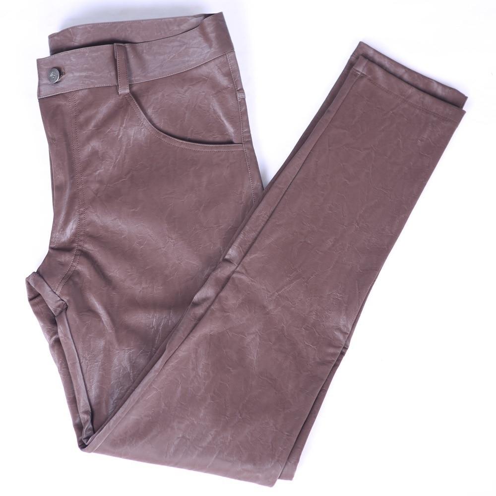Fad-بنطلون ضيق من جلد البولي يوريثان للرجال ، ملابس شتوية غير رسمية ، قماش مخملي لركوب الدراجات النارية ، ضيق للتدفئة